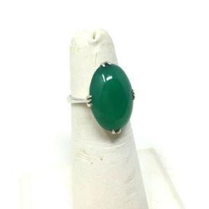 Vtg Green Apple Jade 970 SS Art Deco Cabochon Ring